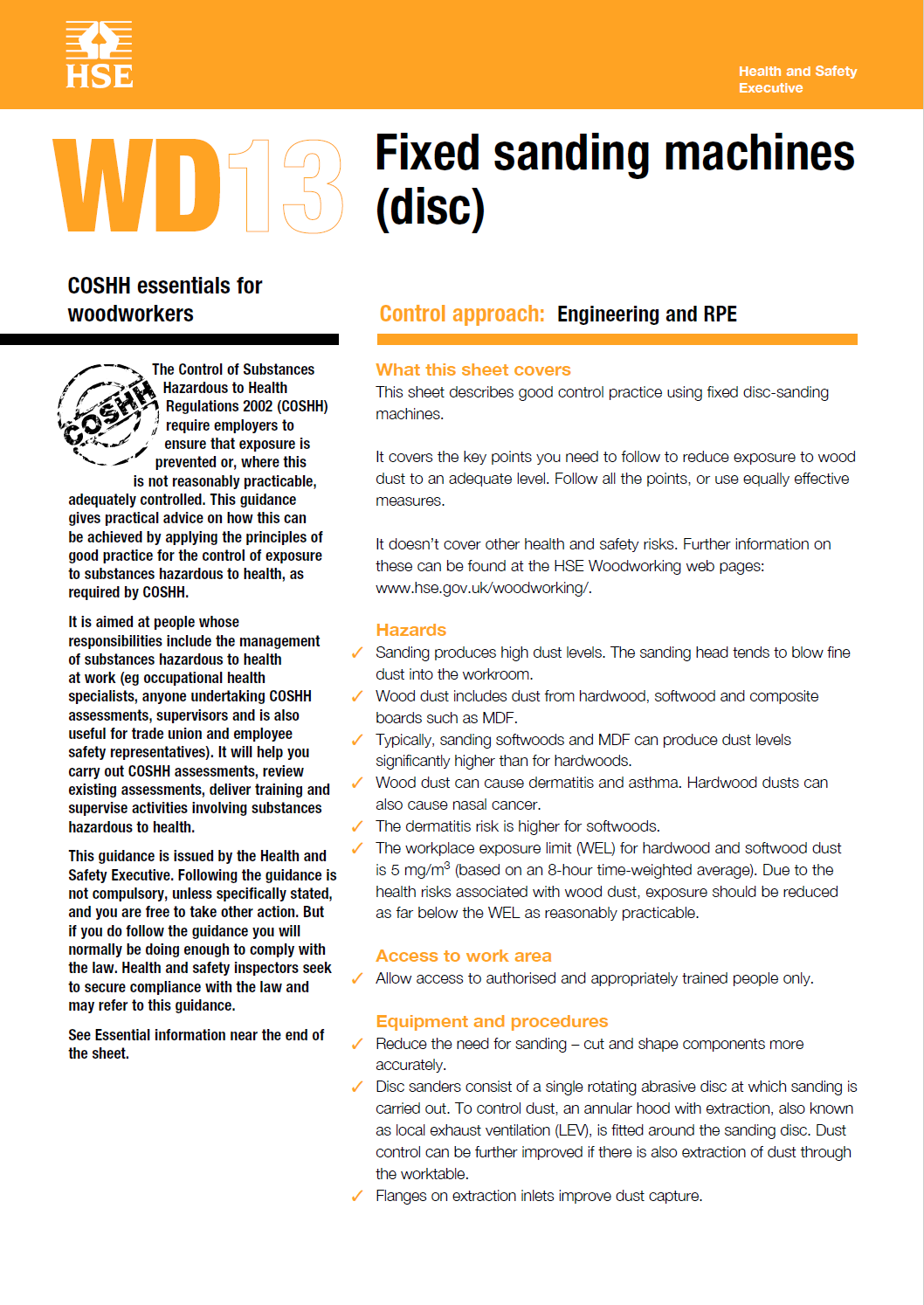 WD13: Fixed sanding machines (disc)