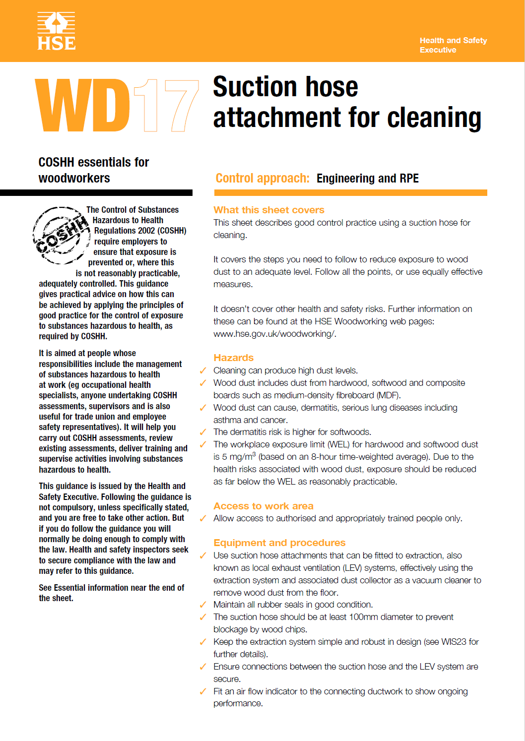 WD17: Suction hose attachment for cleaning