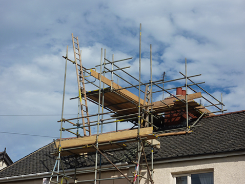 Image of good practice of scaffolding used for access to a chimmney stack.