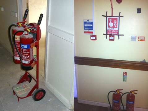 Image of the installation of a temporary fire alarm system.