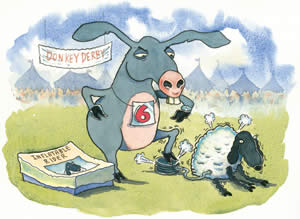 Cartoon drawing of a donkey inflating a blow-up sheep
