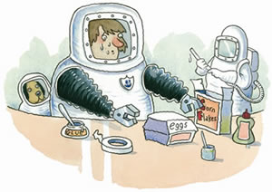"""Person in a """"spacesuit"""" doing some """"Blue Peter"""" style arts and crafts."""