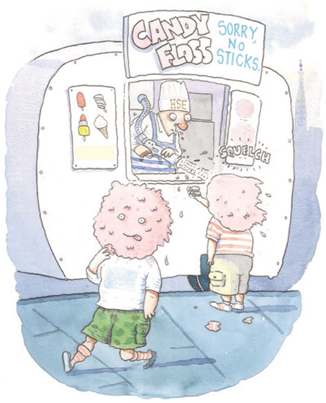 Cartoon of children getting candyfloss with no sticks