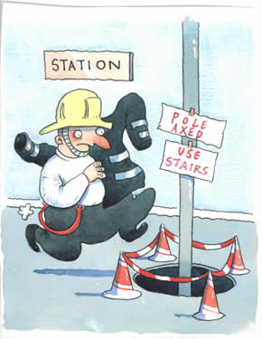 Myth: Health and safety laws banned poles in fire stations