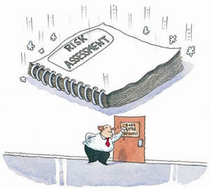 Cartoon of man about to crushed by a falling large book entitled 'Risk Assessment'
